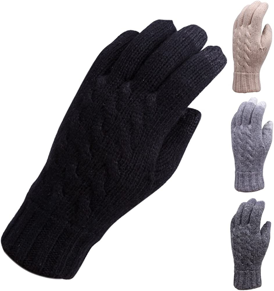 Elma Men's Wool Cable Knit Touchscreen Texting Gloves Mittens for Smartphone Iphone