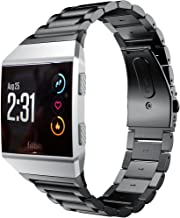 AiiKo Compatible with Fitbit Ionic Bands,Stainless Steel Metal Smart Watch Strap,Replacement for Fitbit Ionic Smart Watch(Black)