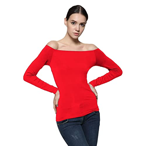 f08e8b8078497a Maggie Tang Fitted Off Shoulder Long Sleeve Blouse Top Size M Color Red