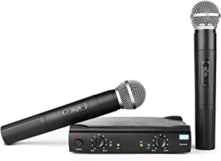 Professional Vocal Wireless Microphone System, Frunsi AMR AM-27 Dual Dynamic VHF Cordless Handheld Microphone with Multiport Receiver, Long Range Wireless Signal for Karaoke, Sing, DJ, Church, Wedding