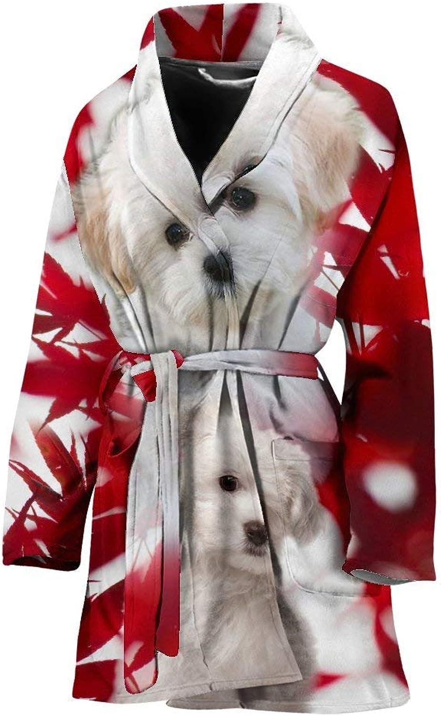 Deruj Maltese On Red Print Women's Bath Robe