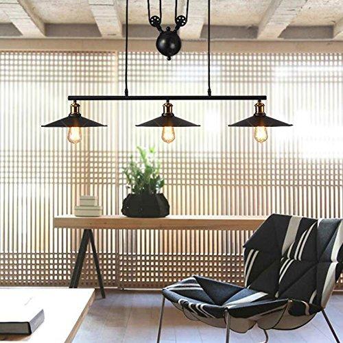Hahaemall Suspension rétro en verre et métal Style industriel moderne Pour loft (Ampoule non incluse), Bronze, Noir , E27 40.0W 220.00V