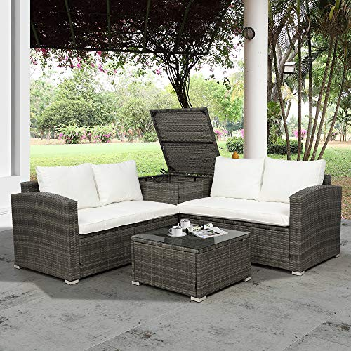 CHINNLUU 4 Pieces Patio Furniture Sectional Set Outdoor All-Weather PE Wicker Rattan Lawn Conversation Sets Garden Sofa Set with Glass Coffee Table