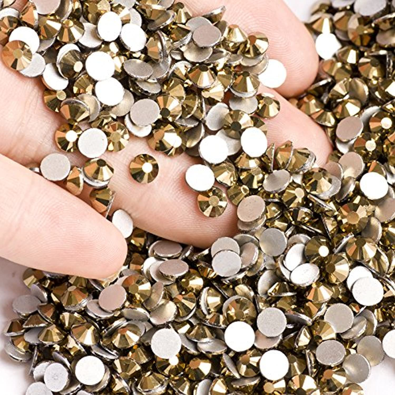 弁護予言する国際高品質ガラス製ラインストーン ゴールド 業務用パック1440粒入り ネイル デコ レジンに (4.8mm (SS20) 約1440粒) [並行輸入品]