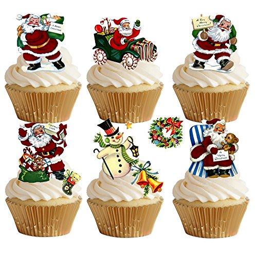 Lot de 29 décorations de gâteaux - Papier gaufré - Thème Père Noël - Qualité supérieure - Comestibles