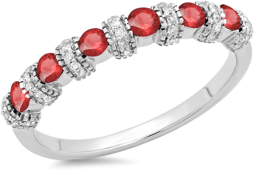 14K Gold Round Ruby And White Diamond Ladies Bridal Stackable Wedding Band Anniversary Ring