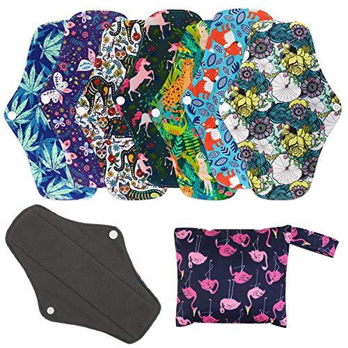 7 Pièces Serviettes hygiéniques réutilisables, Protège-slips en Bambou avec sac de Rangement, Tissu Lavable Heavy Flow Night Serviettes Hygiéniques Menstruelles