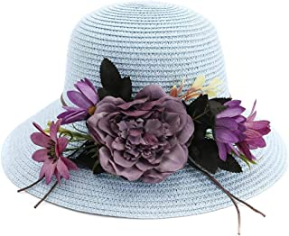PengCheng Pang Summer Handmade Crochet Flower Hat UV Protection Women Sun Hat Beach Hat Girl Sweet Holiday Jewelry (Color : Light Blue, Size : 56-58CM)