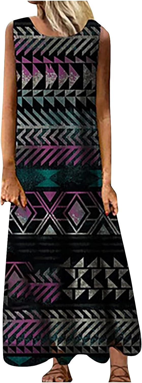 ESULOMP Women's Summer Maxi Dress Casual Loose Floral Print O-Neck Sleeveless Dress Bohemian Long Dresses