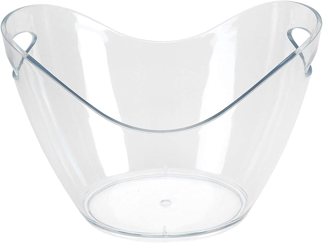 Yesland Ice Bucket Clear Plastic 3 5 Liter Storage Tub Perfect For Wine Champagne Or Beer Bottles