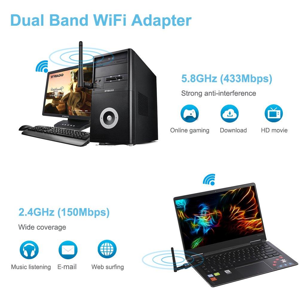 INMUA 1200Mbps Adaptador USB WiFi inalámbrico Antena de Alta Ganancia Banda Dual(5G 867M /2.4G 300M) 802.11 AC para PC portátil de Escritorio, Compatible con Windows/Mac OS 10.4-10.14: Amazon.es: Informática
