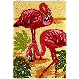 Knüpfen Set Flamingo Tapisserie Teppich Selber Knüpfen Knüpfteppich Zum Selber Knüpfen DIY Knüpfteppich Für Kinder Erwachsene Oder Anfänger Knüpf-Sets DIY Handarbeit Latch Hook Kit 52Cmx38cm