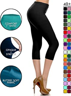 Leggings Depot High Waisted Capri Leggings - Soft & Slim...
