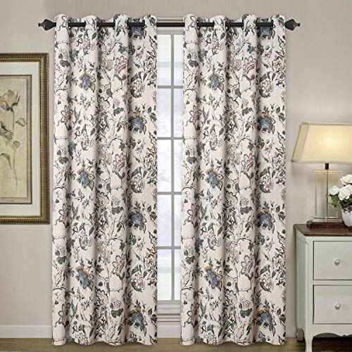 Blackout Curtains for Living Room Thermal Insulated Curtain Drapes for Bedroom/Dining Vintage Floral Printed Grommet Draperies (1 Panel, 52' W x 84' L, Sage/Beige/Brown/Blue)