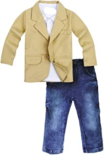 Toddler Baby Boys Gentleman 3 Pieces Shirt+Jacket+ Jeans Wedding Infant Pants Clothing Sets