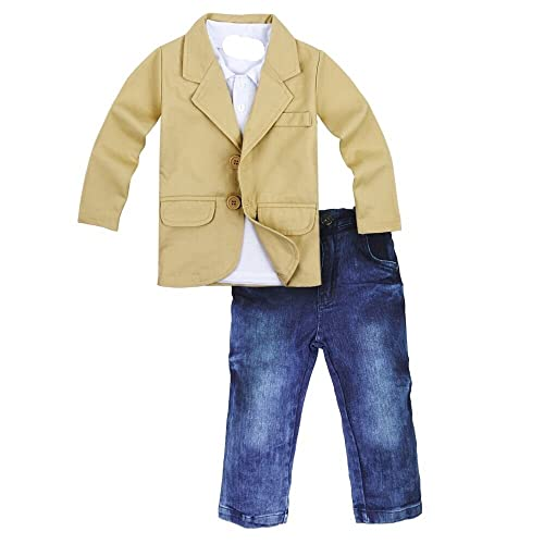 5d4a8dc81 Toddler Baby Boys Gentleman 3 Pieces Shirt+Jacket+ Jeans Wedding Infant Pants  Clothing Sets