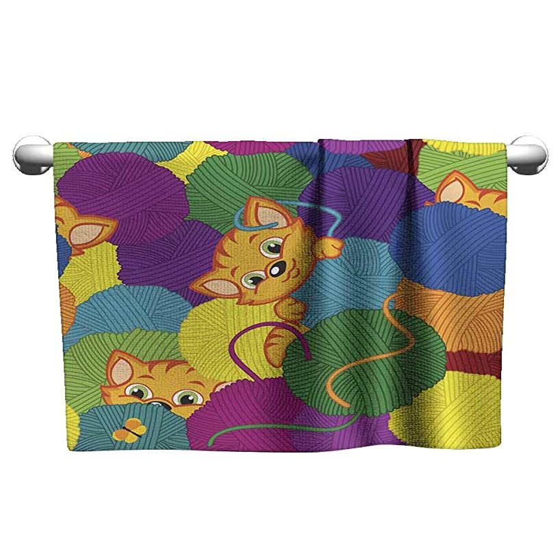 Absorbent Towel Seamless Pattern with Kitten and Balls of Yarn onsen Towel Bath Towels 8 x 24 Inch