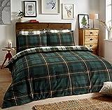 Sleepdown Bettbezug-Set mit Kissenbezügen, Schottenkaro, wendbar, Baumwolle Polyester, grün,...