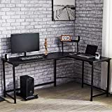 CO-Z L Shaped Computer Desk with Monitor Stand | 72' & 53' Corner Desk with USB Charging Station, Cable Management | Space-Saving Home Office Desk w/Sliding Shelf | Simple Modern Gaming Desk, Black