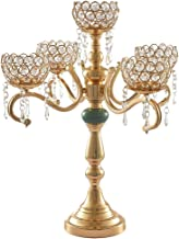 Flameer Luxury Gold 5 Arms Candelabra Crystal Votive Candlesticks Candle Holder