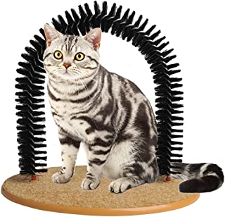Morezi Soft Pet Cat Self Grooming Comb Brush Kitties Cat Arch Self Massage Brush Hair Trimming Brush Cat Scratcher Pet Toy - Wood Base