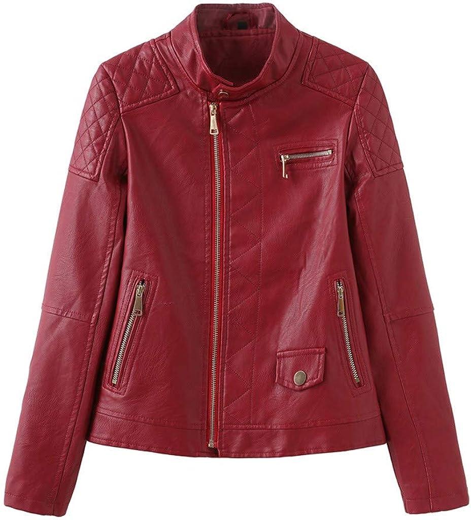 TOTOD Jackets for Women Motorcycle Jacket Coat Faux Leather Windproof Warm Casual PU Outwear Windbreaker