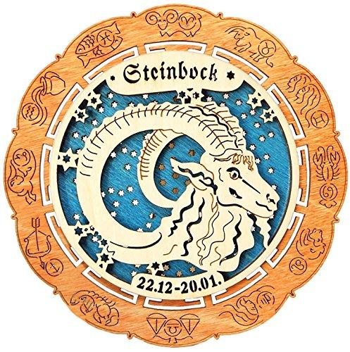 Kaltner Präsente Geschenkidee - Holz Sternzeichen Steinbock (Ø 155 mm)