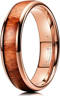4mm 6mm Tungsten Wedding Ring Domed with Real Koa Wood Inlay Silver Rose Gold Band