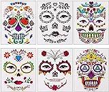 Naler 6 Hojas de Tatuaje Temporal de Cara Diseño Cráneo y Flor para Maquillaje Facial en Halloween Carnaval Día de los Muertos