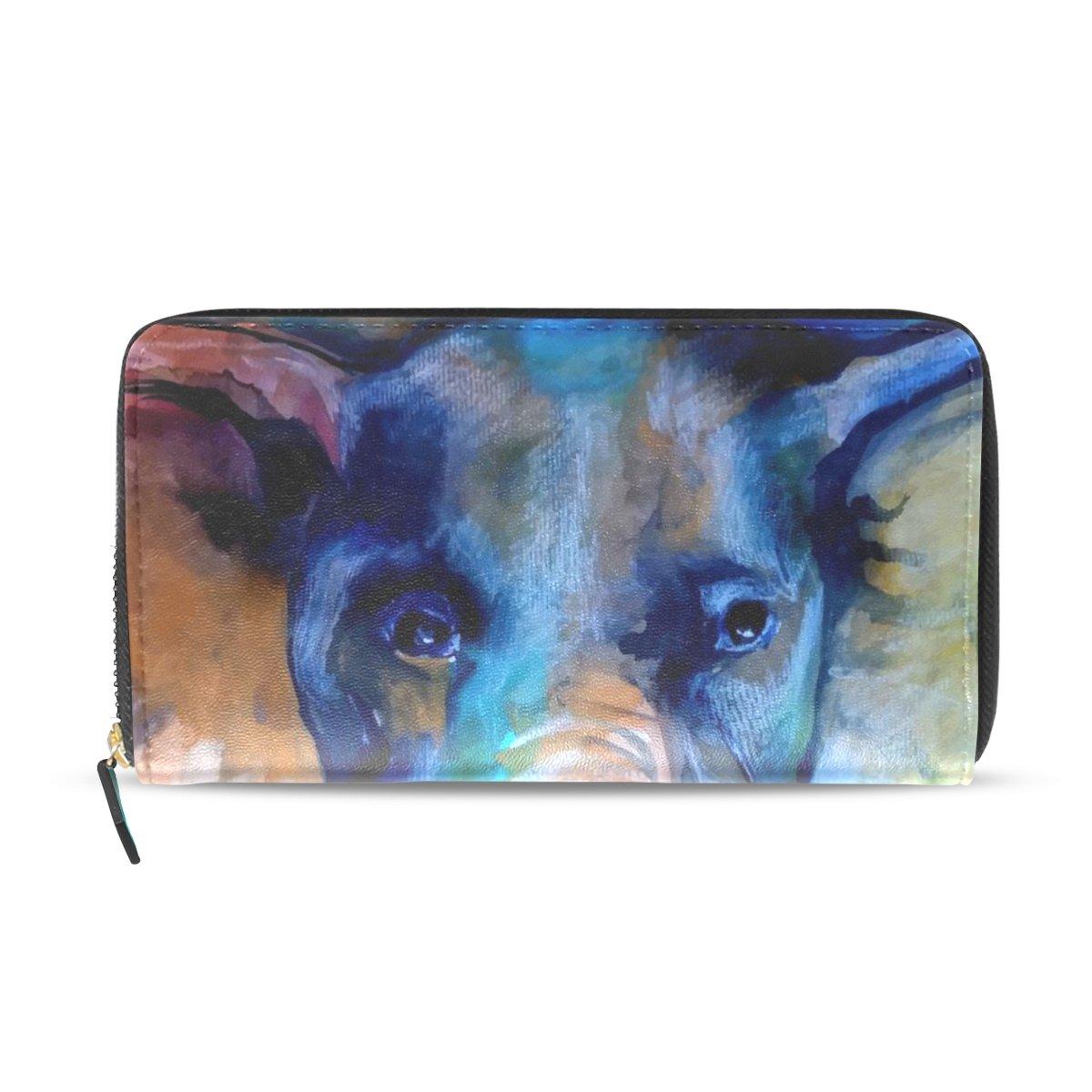 ユーモラス恐ろしいです飼いならすWomens Watercolor象パターン長財布&財布ケースカードホルダー