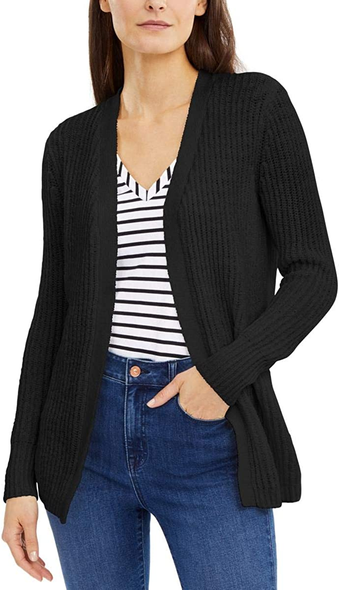 I.N.C. International Concepts INC Womens Black Ribbed Solid Long Sleeve Open Cardigan Sweater Size L