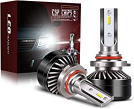 TURBO SII 9006 HB4 Low Beam LED Headlight Bulbs Fog Light Conersion Kit with Cooling Fan, DOT Approved Mini Design 6x CSP Chips Extremely Bright 6000K Xenon White(2 Pack)