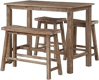 Boraam 4 Piece Sonoma Pub Table Set, Neutral Driftwood Gray Finish, 36 x 47.25 x 23.75