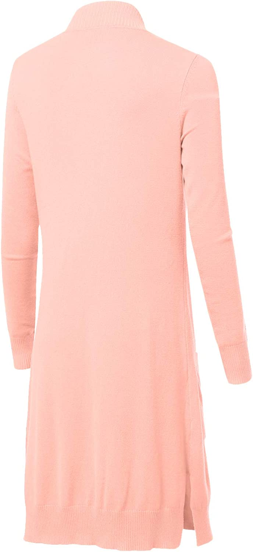 Women's Solid Soft Stretch Longline Long Sleeve Open Front Cardigan