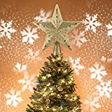 Christmas Tree Topper Lighted Star Tree Toppers with LED Rotating Snowflake Projector Lights, 3D Hollow Silver Star Snow Tree Topper for Christmas Tree Decorations (Gold)