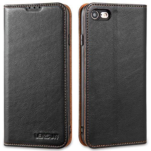 LENSUN Echtleder Hülle für iPhone SE 2020, iPhone 7 / iPhone 8 Leder Handyhülle Magnetverschluss Handytasche kompatibel mit iPhone SE2/ 8/7 (4,7 Zoll) – Schwarz