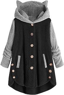 aihihe Women's Long Sleeve Cat Ear Hoodies Pullover Hoodie Fleece Color Block Button Hooded Sweatshirt Warm Winter