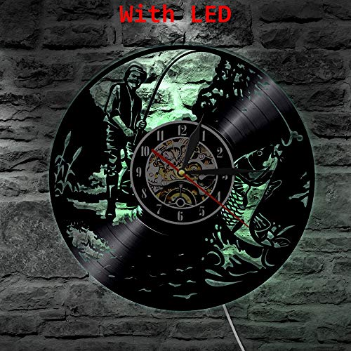 Reloj de Vinilo Led para Hombre de Pesca de 7 Colores, Cambio de Color de luz de Pared, retroiluminación LP Vintage,lámpara de decoración de Regalo Hecha a Mano, Control Remoto