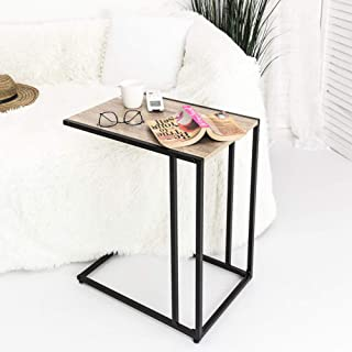 C-Hopetree C-Shaped Side End Coffee Table, Small Slide Under Coach Sofa Snack C Table for Laptop, Black Metal Frame, Modern Industrial Wood Look