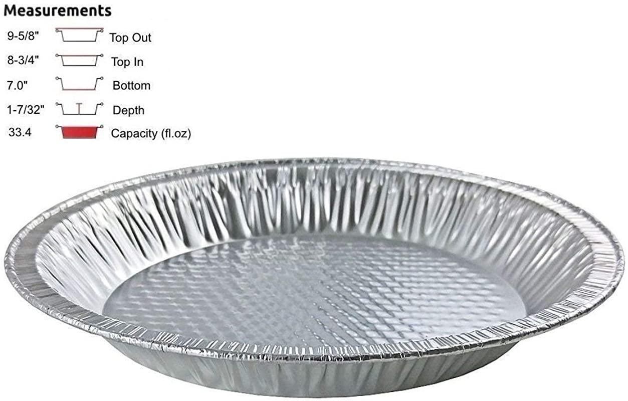 Handi Foil 10 Actual Top Out 9 5 8 Inches Top In 8 3 4 Inches Aluminum Foil Pie Pan Disposable Baking Tin Plates 50