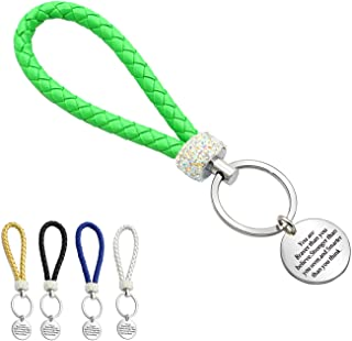 Inspirational Gifts, Keychains for Women Men Leather Car Strap Keychain with 5 Colors