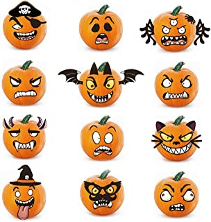 XJF Halloween Pumpkin Decorating Kit Stickers – Foam Pumpkin Decorating Stickers,Makes 24 Pumpkins(12 Designs)- Halloween Party Supplies Trick or Treat Party Favors