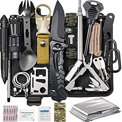 Lchahsprn Survival Gear Kit 37 in 1, Emergency EDC Survival Tools SOS Earthquake Aid Equipment, Cool Top Gadgets Valentines Birthday Gifts for Men Dad Him Husband Boyfriend Teen Boy Camping Hiking by Six-Seven