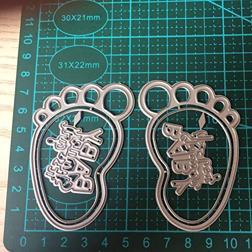 Lai-LYQ Stanzmaschine Stanzschablone, Babyfuß Scrapbooking Prägeschablonen Handwerk Papier Deko Festival Karten Geschenk Silver
