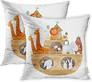 Leisure-Time Juego de Fundas de Almohada para niños Acuarela de Cute Noah Ark The Animals Holiday for Baptism Ship Funda de Almohada