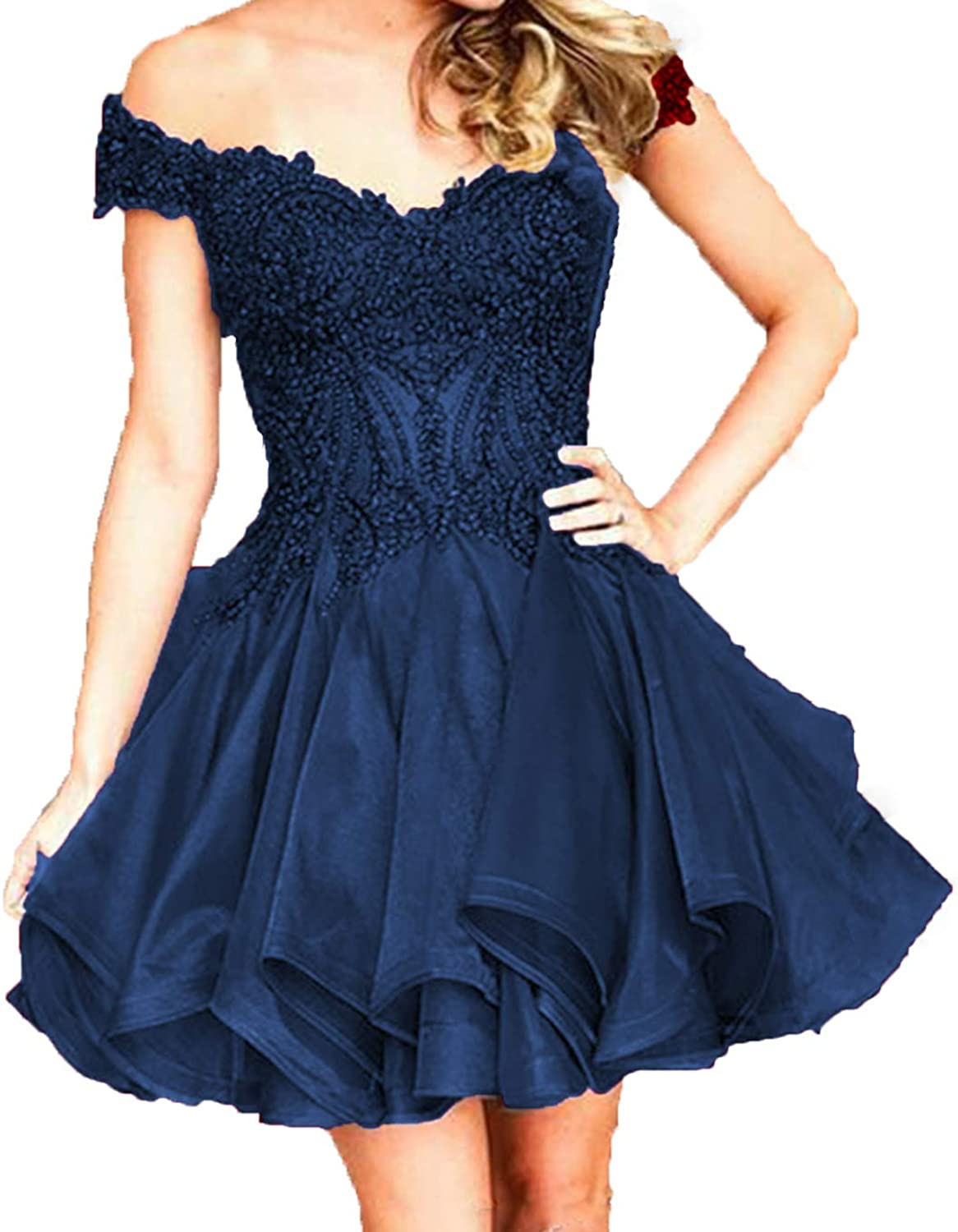WIYMSHZ Off The Shoulder Homecoming Dresses Short Beads Cocktail Prom Gowns