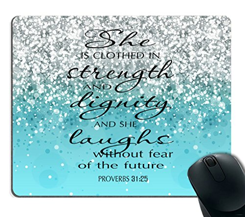 Smooffly Proverbs 31:25 Mouse Pad,Bible Verse Blue Sparkles Glitter Pattern Mouse Pad