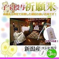 子授け祈願米 3kg・お守り付/大藏神社にて子宝授与の祈願を行った縁起の良い新潟コシヒカリ