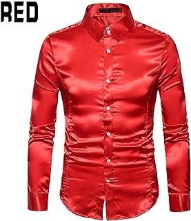 Qiyun Men's Shirts Men Long Sleeve Shirt Fashion Glossy Solid Color Lapel Slim Casual Male Tops