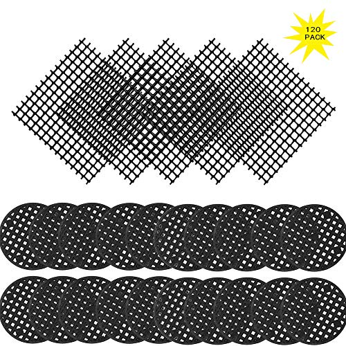 120 Pack Flower Pot Hole Mesh Pad, 100 Pcs 4.5CM/1.8'' Round Bonsai Pot Bottom Grid Mat Mesh and 20 Pcs 2x2 Inch Rigid Garden's Drainage Mesh Hole Screens